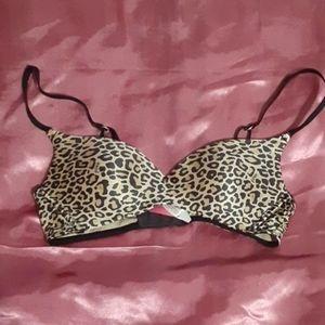 Leopard print lightly padded bra